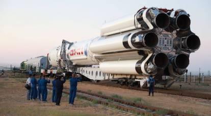 """Cohete en la plataforma de lanzamiento: el módulo """"Ciencia"""" se pone en órbita"""