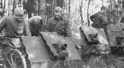 Captured German infantry guns in service in the Red Army