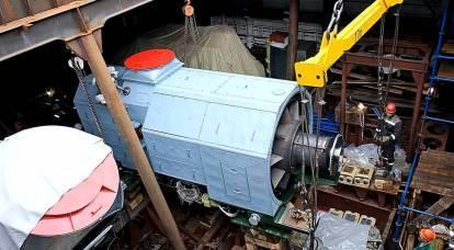 """Images publiées du chargement d'une turbine domestique sur la frégate """"Amiral Isakov"""""""