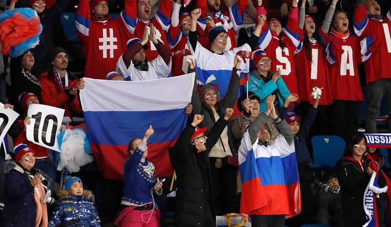 A los rusos les importó un carajo el COI y sacaron las banderas de la Federación Rusa en todas las gradas