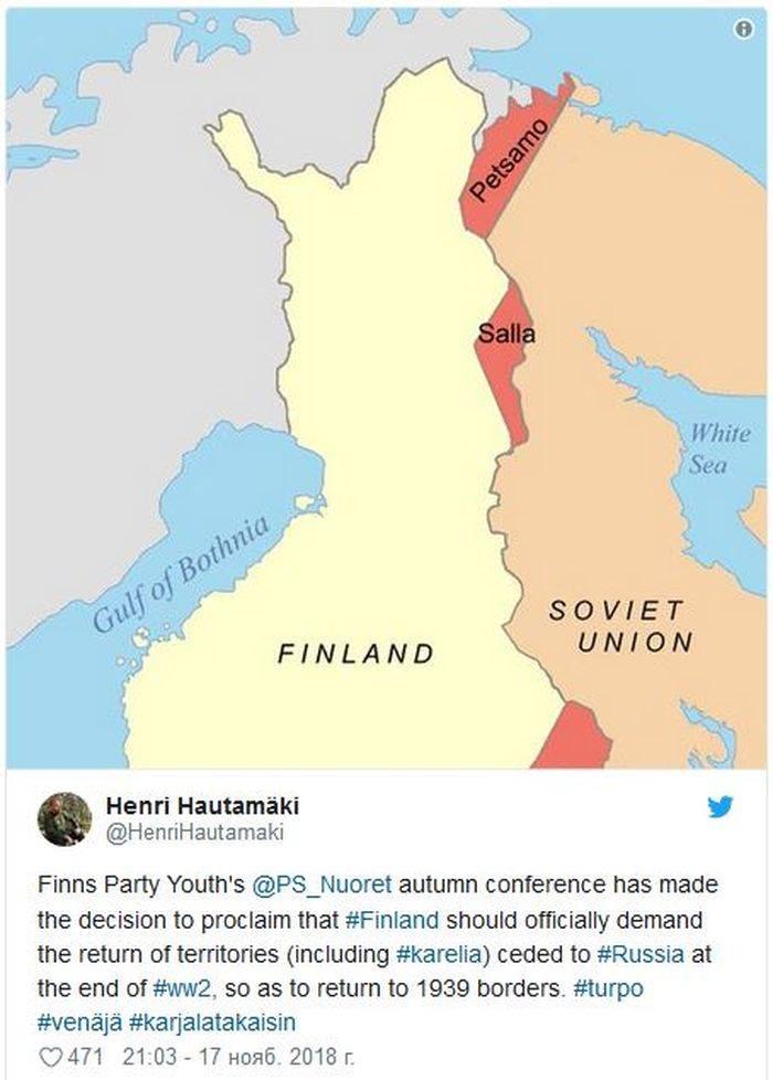 Финляндия открестилась от территориальных претензий к России