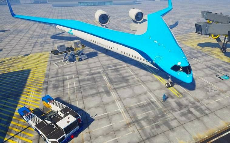 In Europe, working on a liner with a forked fuselage
