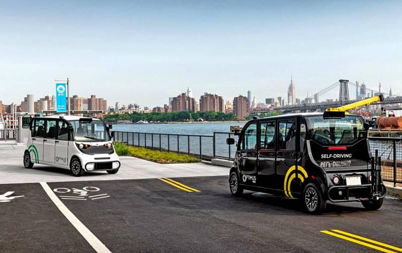 В Нью-Йорке вышли на маршрут первые беспилотные микроавтобусы