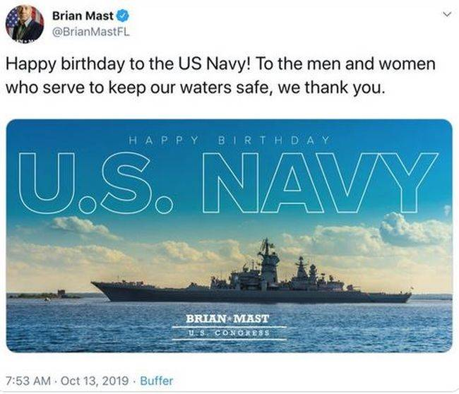 The congressman was mocked on the web, congratulating the US Navy with a photograph of a Russian cruiser