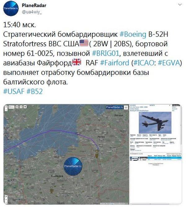 El B-52 de la Fuerza Aérea de EE. UU. Resolvió ataques sobre las bases de la Flota Báltica de Rusia