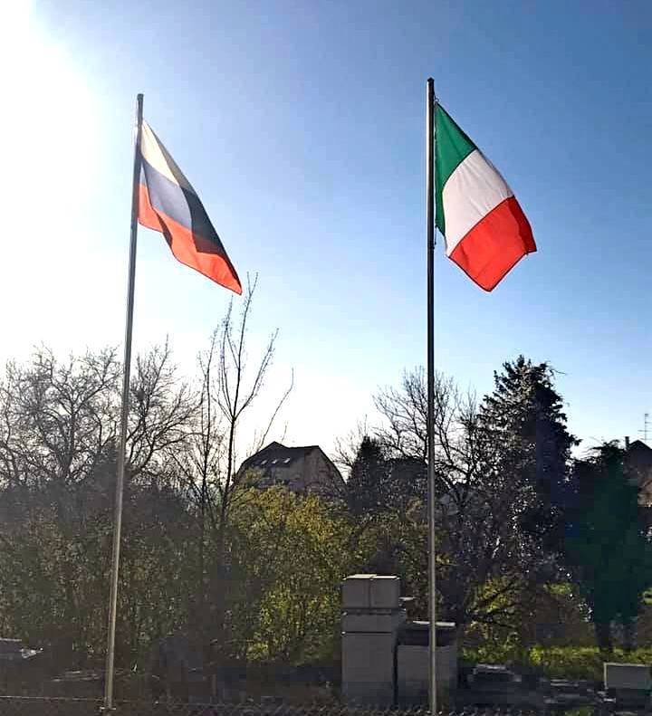 Italians collapse EU flags and unfold Russian