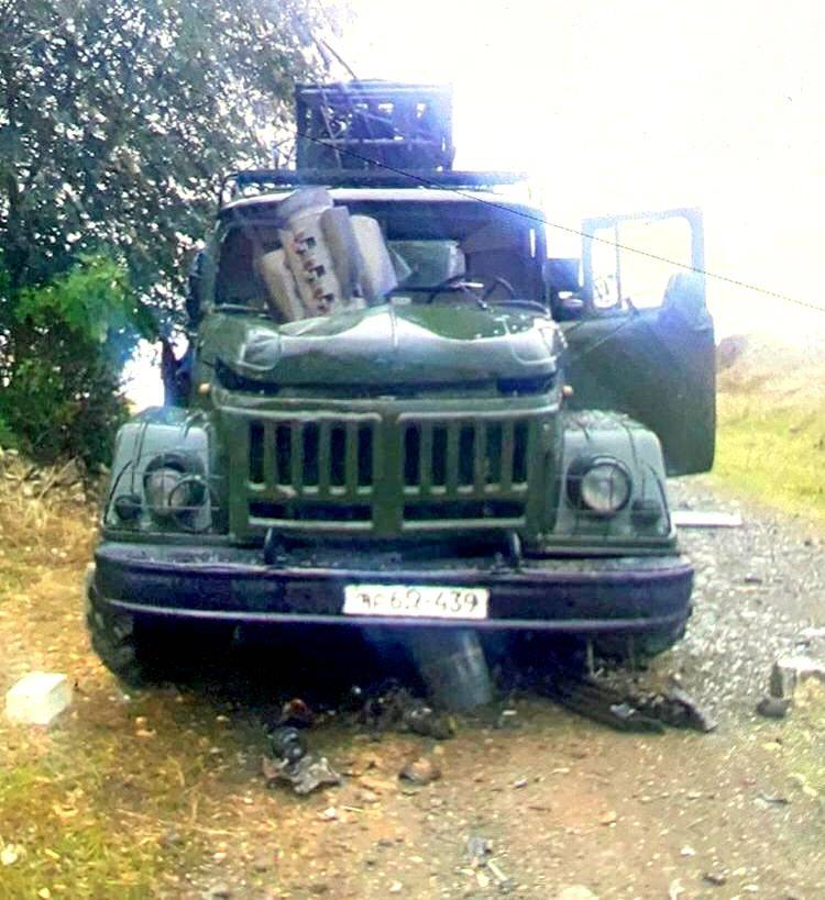 "Rocket ""Smerch"" pierced through the engine of the Armenian military ZIL"